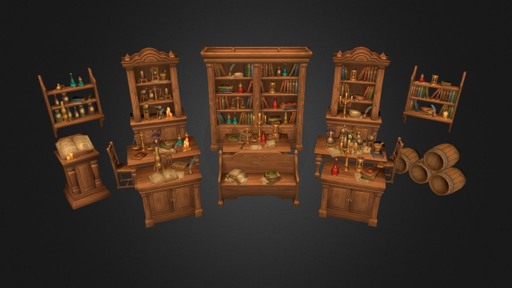 Sketchfab category - furniture - Alchemy lab props