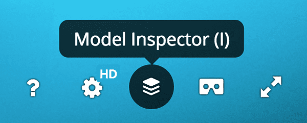 Sketchfab model inspector menu button