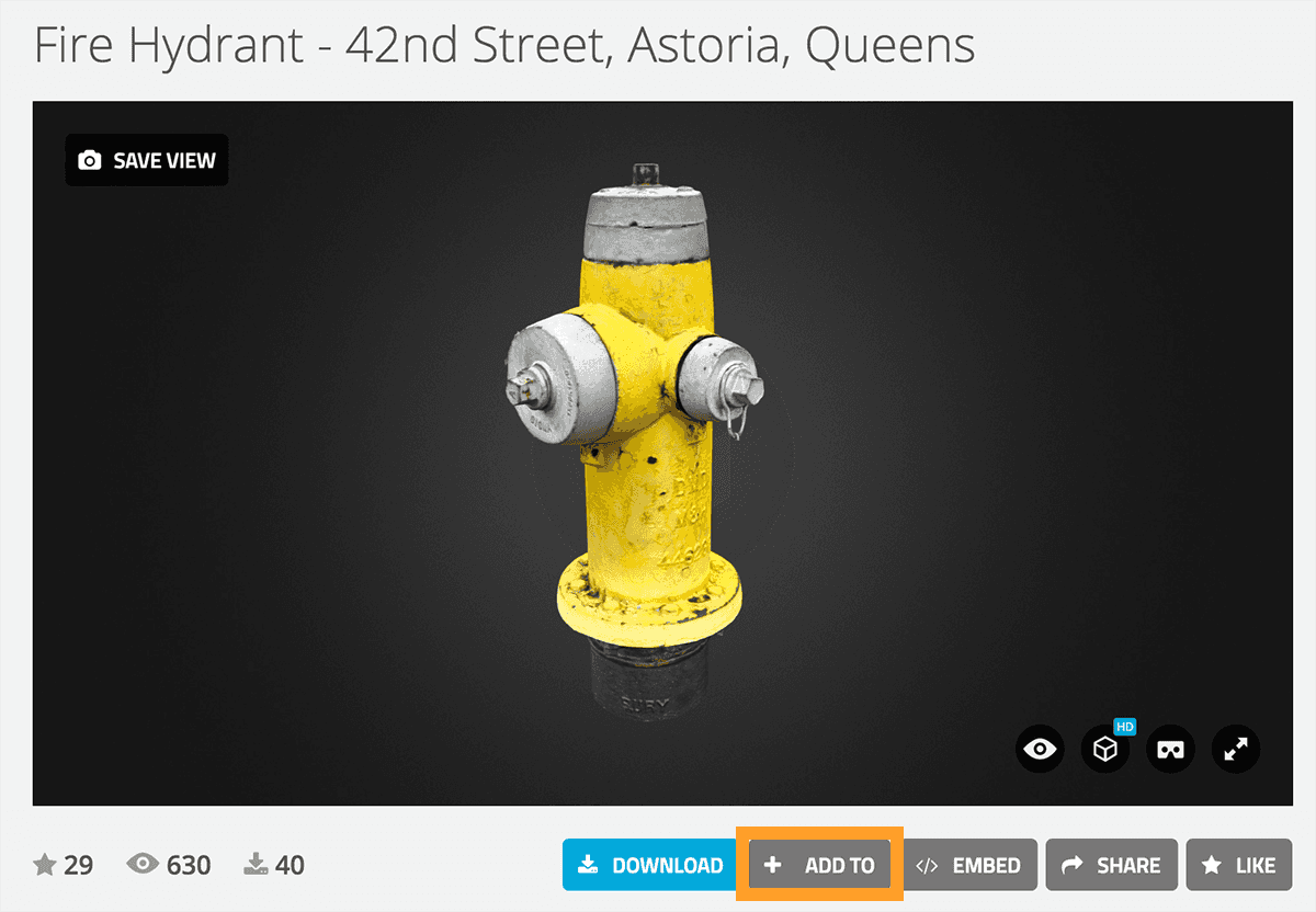Sketchfab 3d model collections - add to