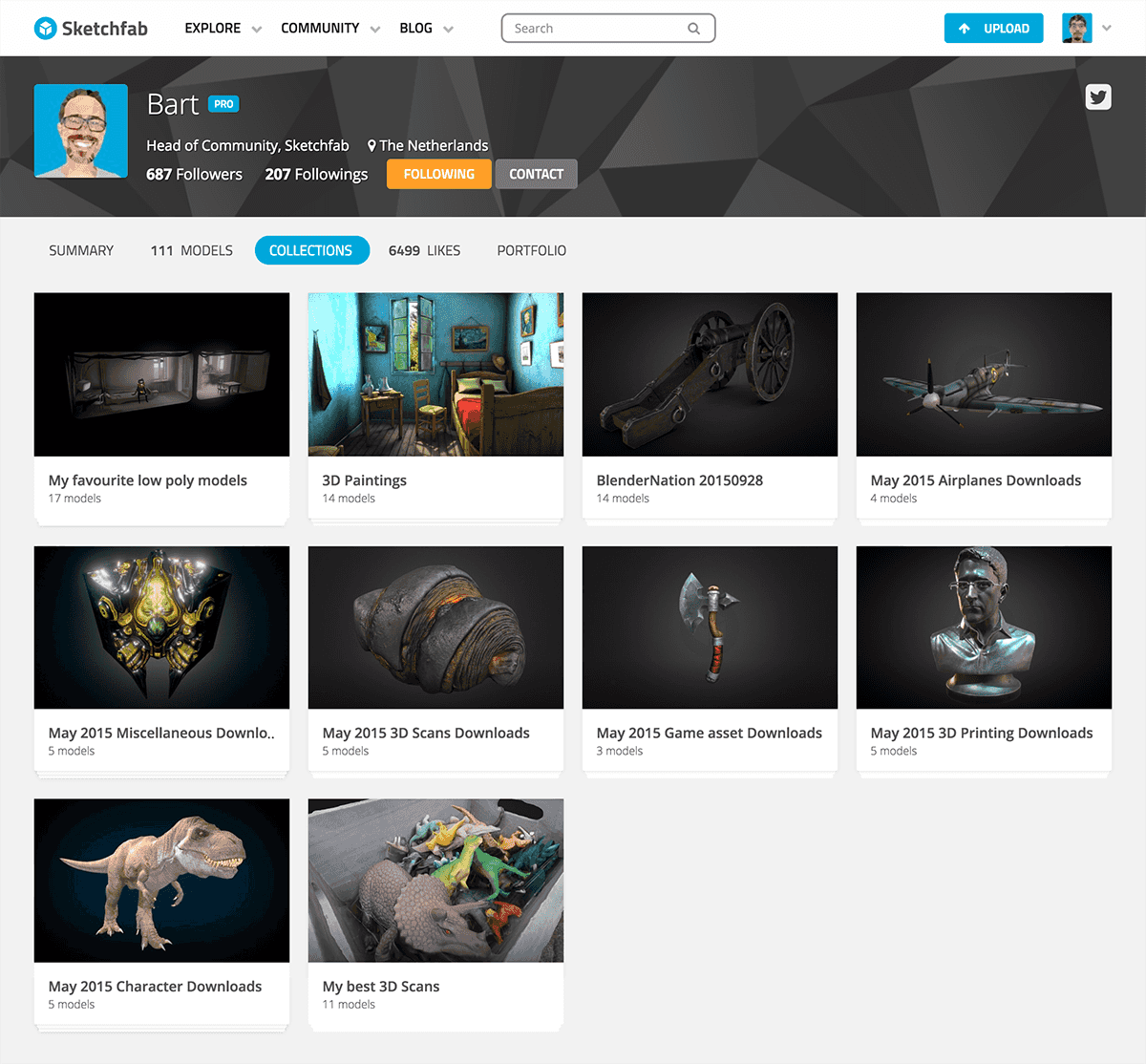 Sketchfab 3d model collections page