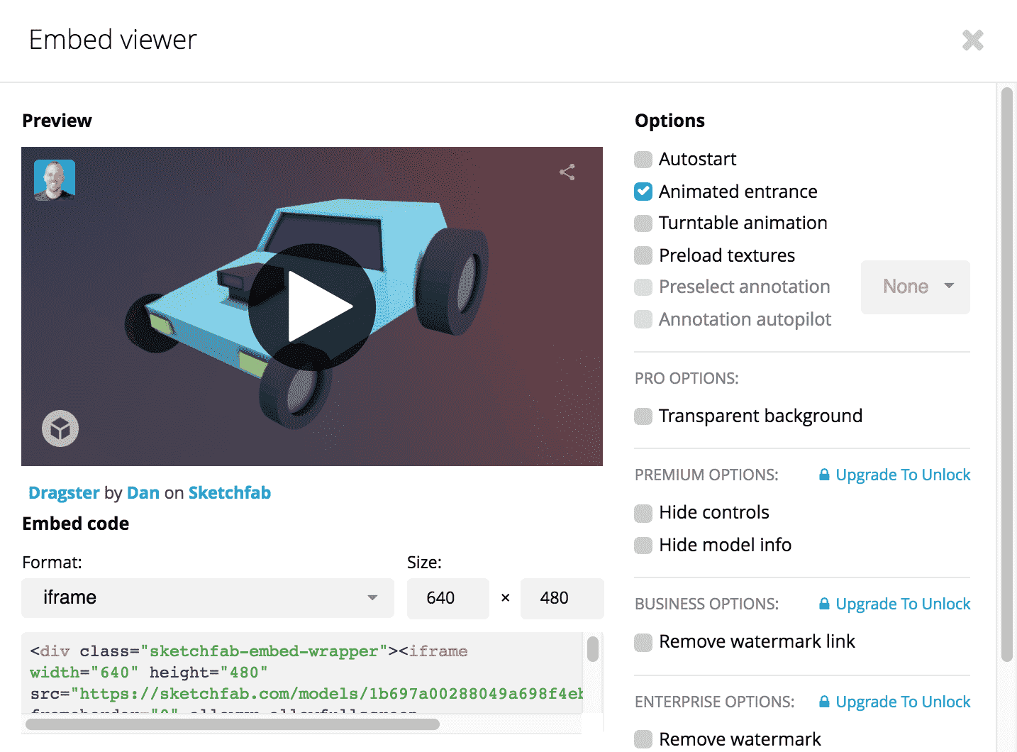 Embedding your models – Sketchfab Help Center