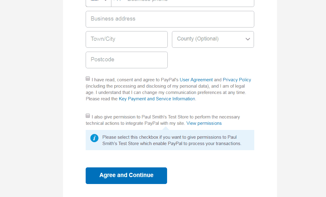 PayPal permissions agreement checkboxes