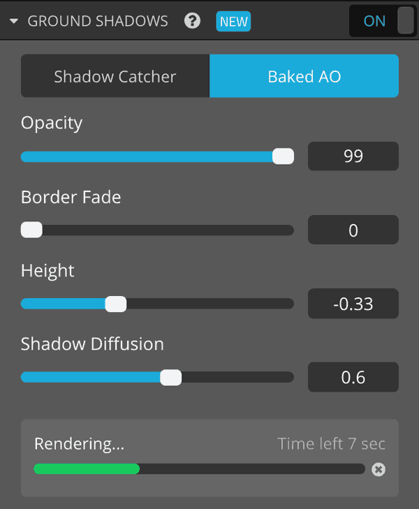 Sketchfab 3D model settings lights ground shadows baked ao