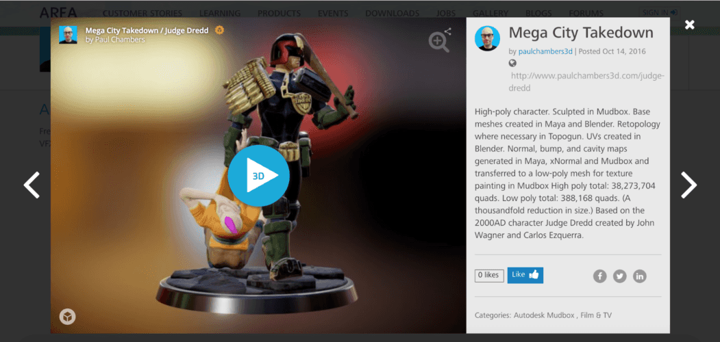 Embed a 3D Sketchfab model in Autodesk AREA - profile