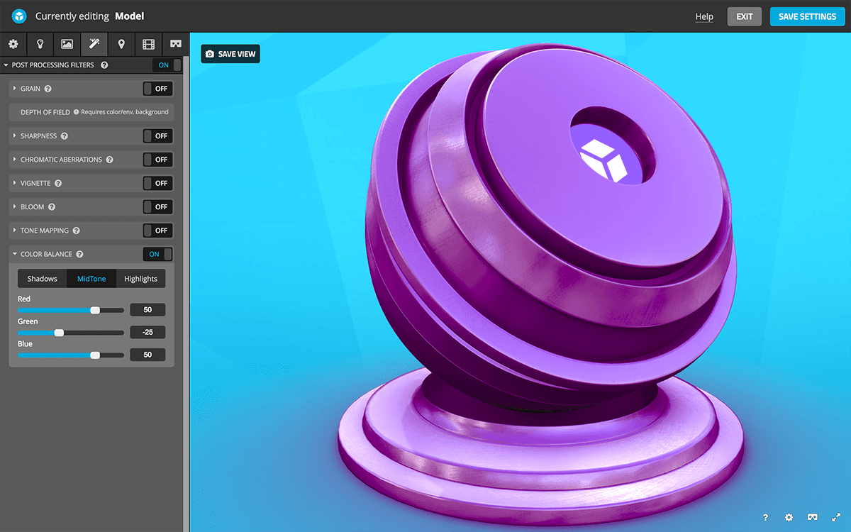 Sketchfab 3D settings post-processing filters - color balance