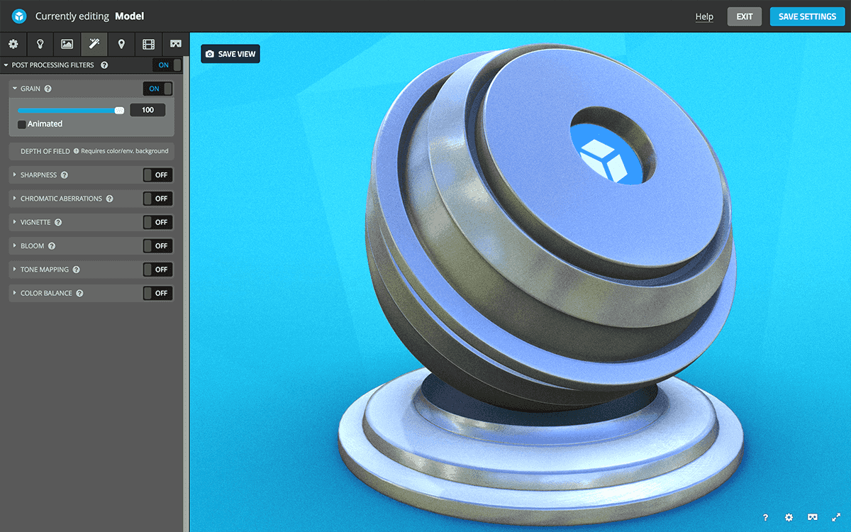 Sketchfab 3D settings post-processing filters - grain