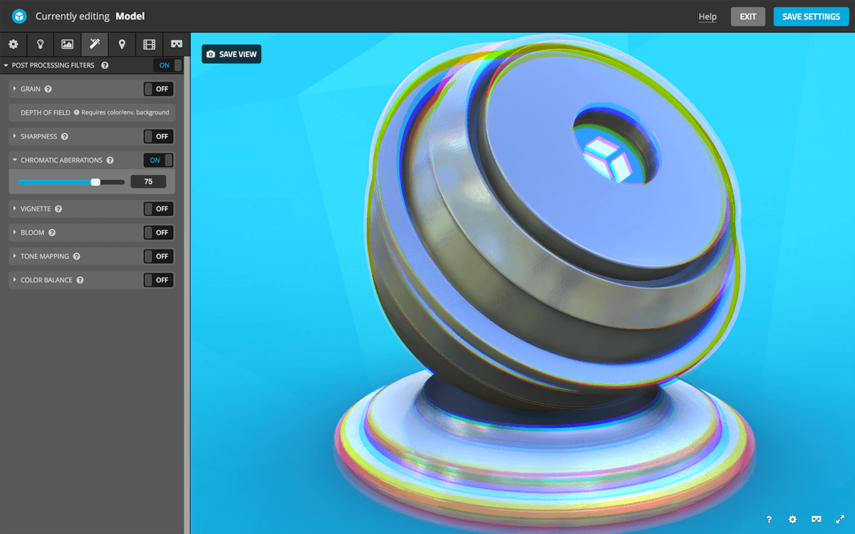 Sketchfab 3D settings post-processing filters - chromatic aberrations