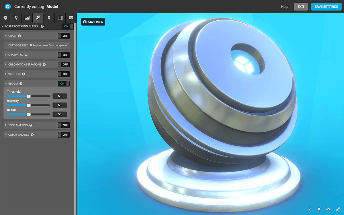 Sketchfab 3D settings post-processing filters - bloom