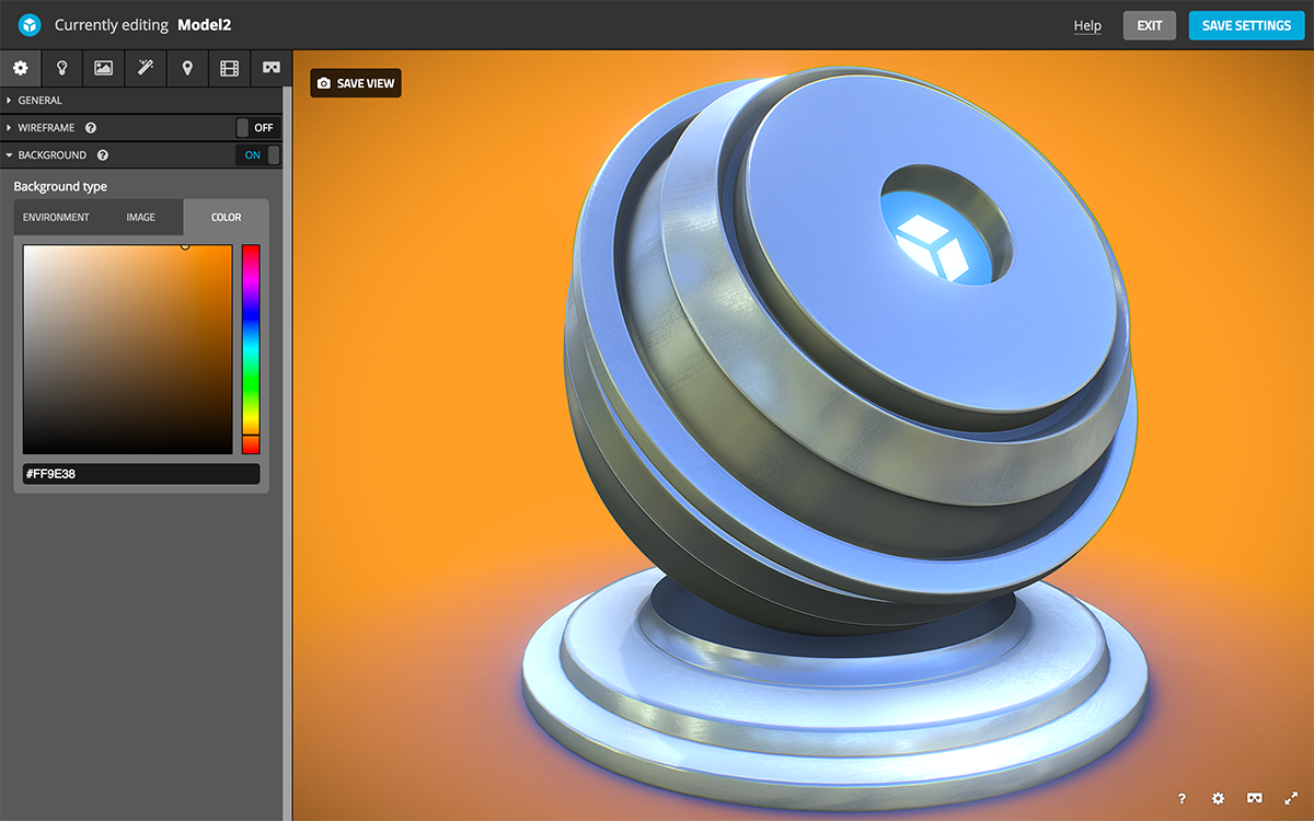 Sketchfab 3d model scene settings background color