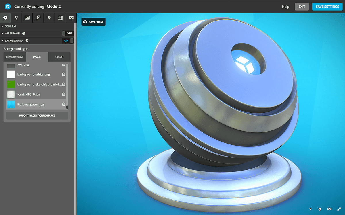 Sketchfab 3d model scene settings background image