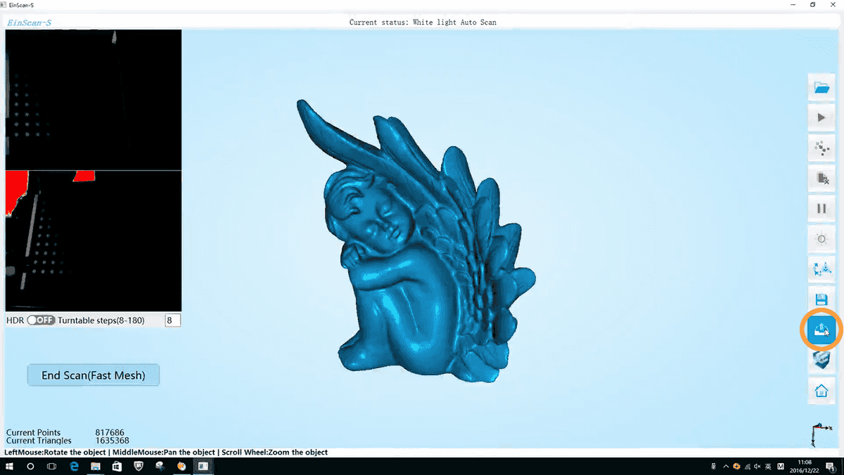 Upload a 3d scan model from EinScan to Sketchfab - Upload button