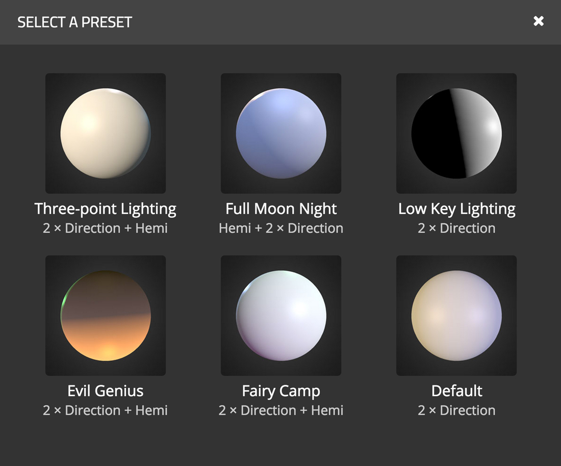 Sketchfab 3d model lighting presets