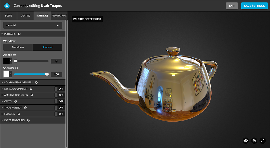 Sketchfab 3d model Physically based rendering PBR settings