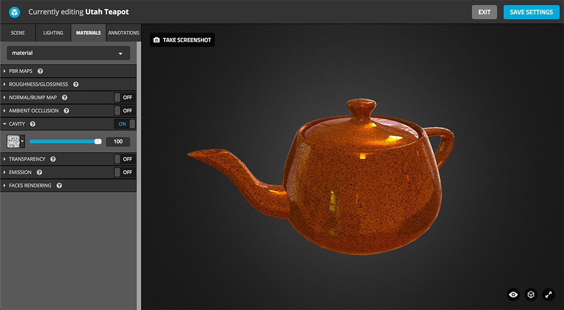Sketchfab 3d model Physically based rendering PBR settings cavity