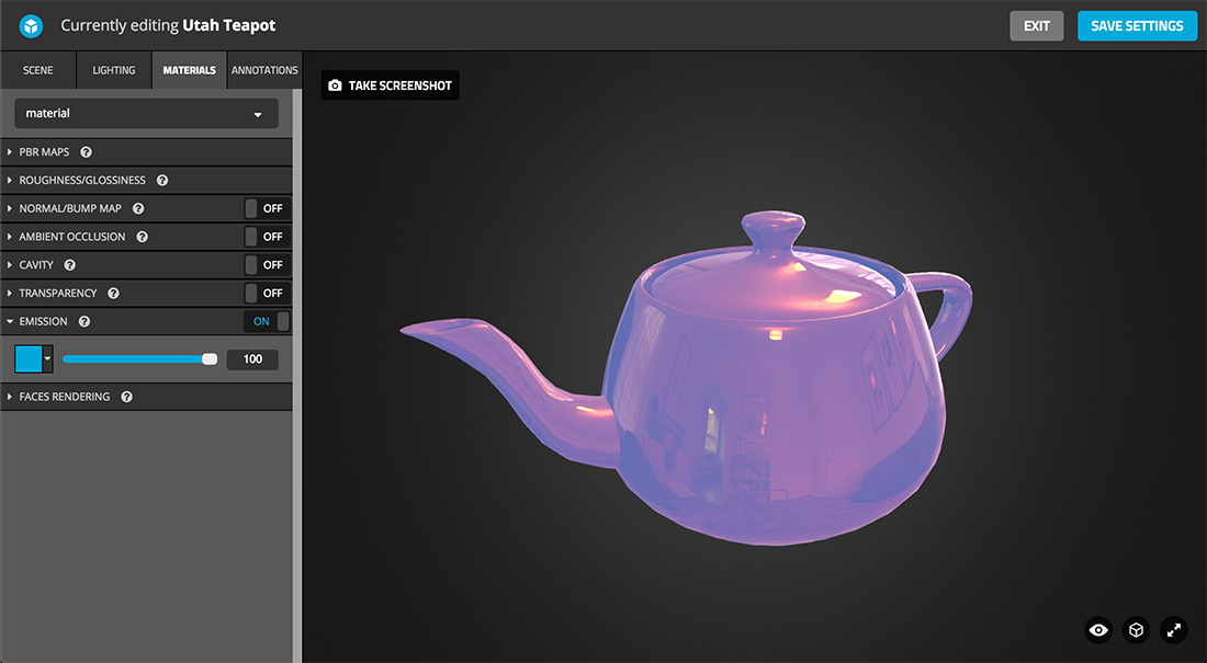 Sketchfab 3d model Physically based rendering PBR settings emission