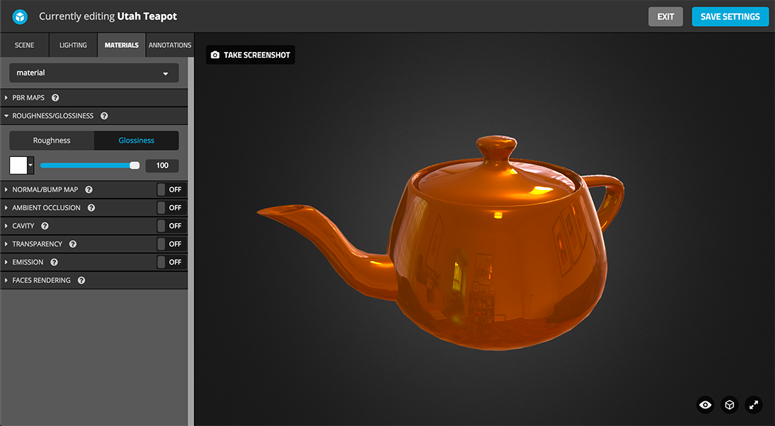 Sketchfab 3d model Physically based rendering PBR settings glossiness