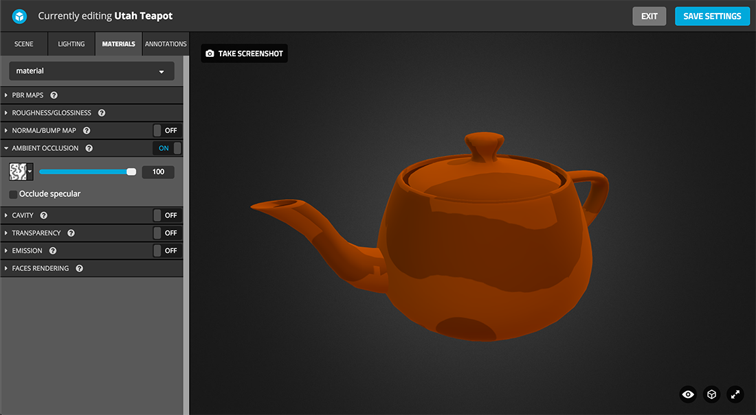 Sketchfab 3d model Physically based rendering PBR settings ambient occlusion