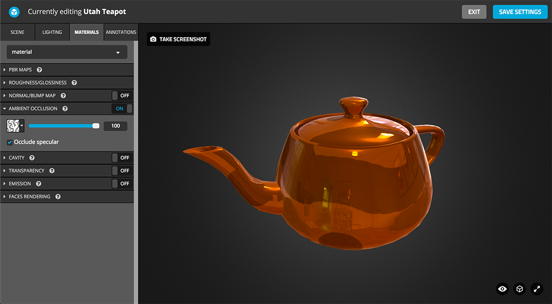 Sketchfab 3d model Physically based rendering PBR settings ambient occlusion specular