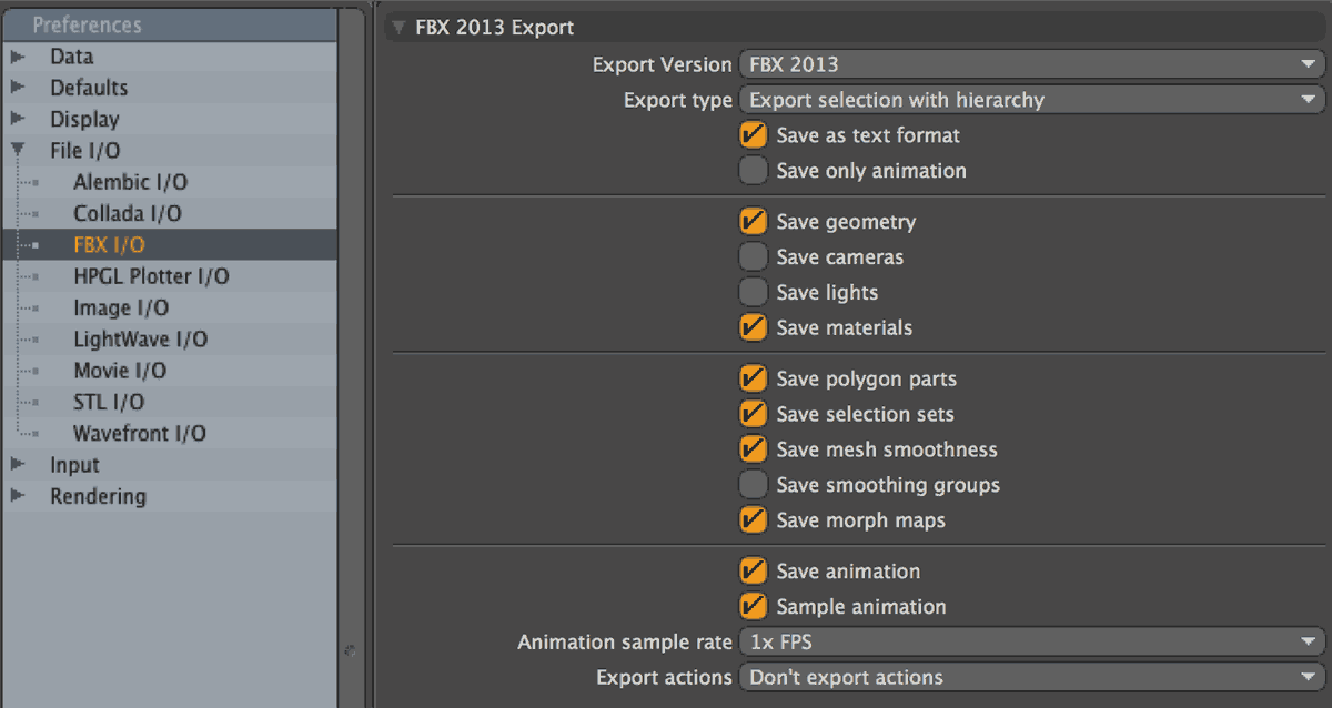 Modo FBX input output export settings