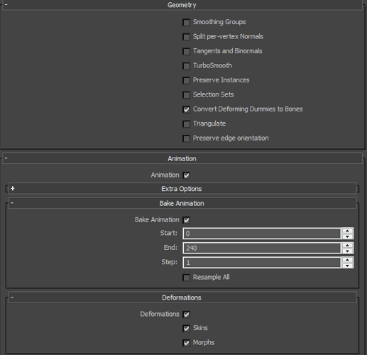 3ds max animation fbx settings