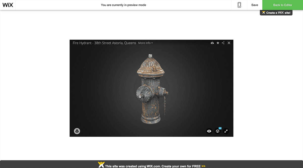 Embed a Sketchfab 3D model in Wix - Preview the site embed