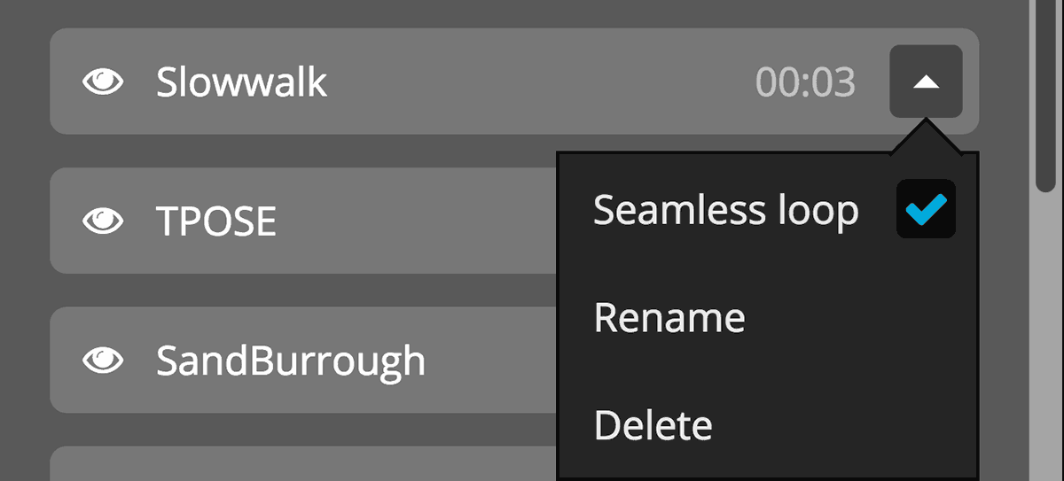 Sketchfab animation 3d settings drop-down rename delete seamless loop interpolate