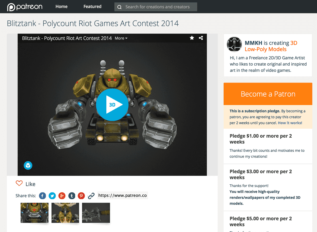 Sketchfab 3d model share embed patreon