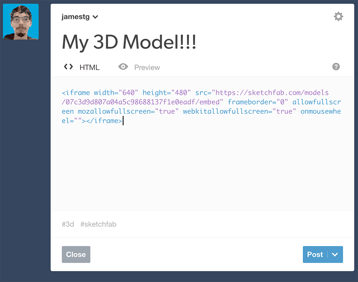 Embed a Sketchfab 3d model in a Tumblr post - embed code