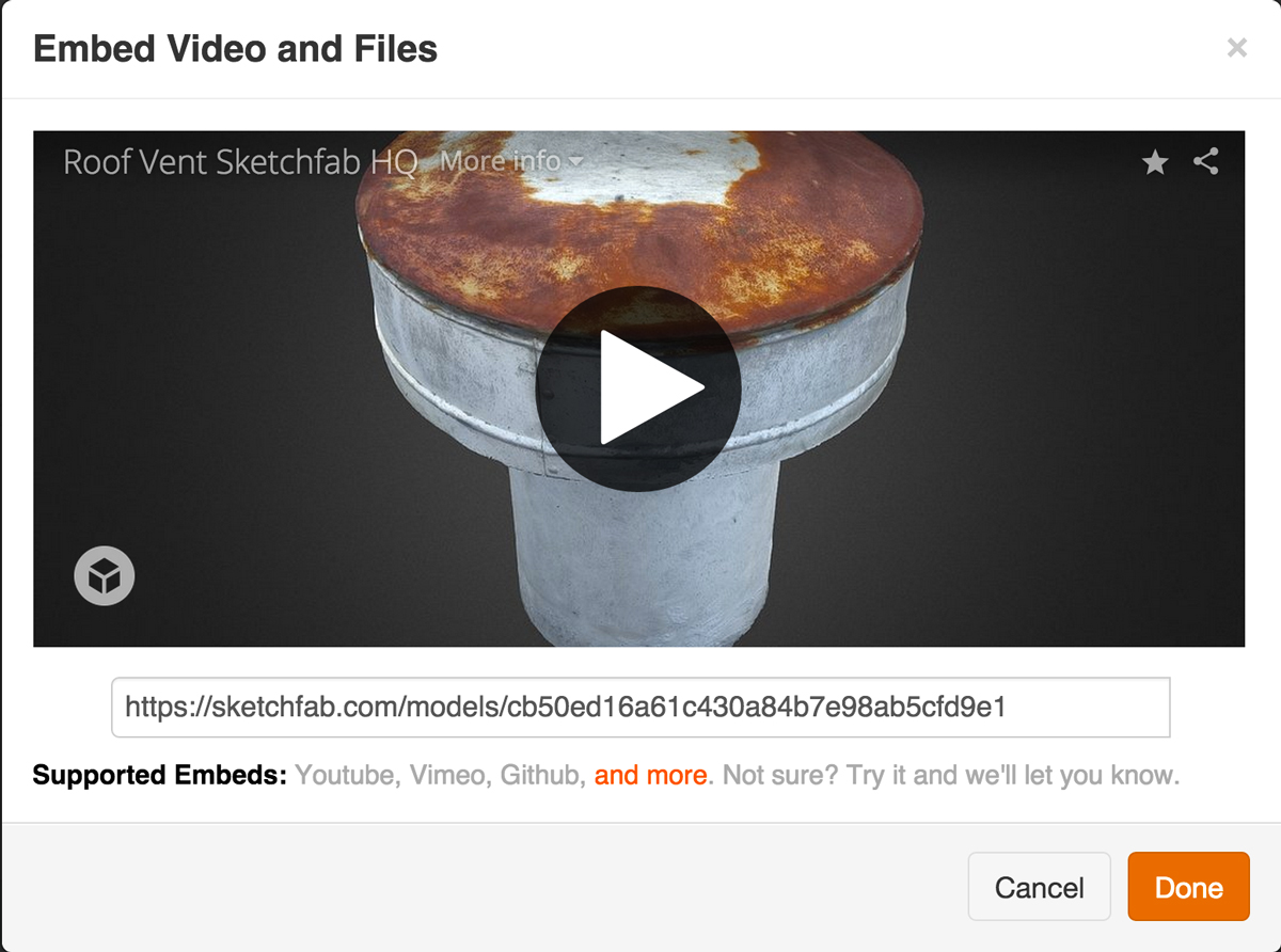 Sketchfab 3d model share embed instructables