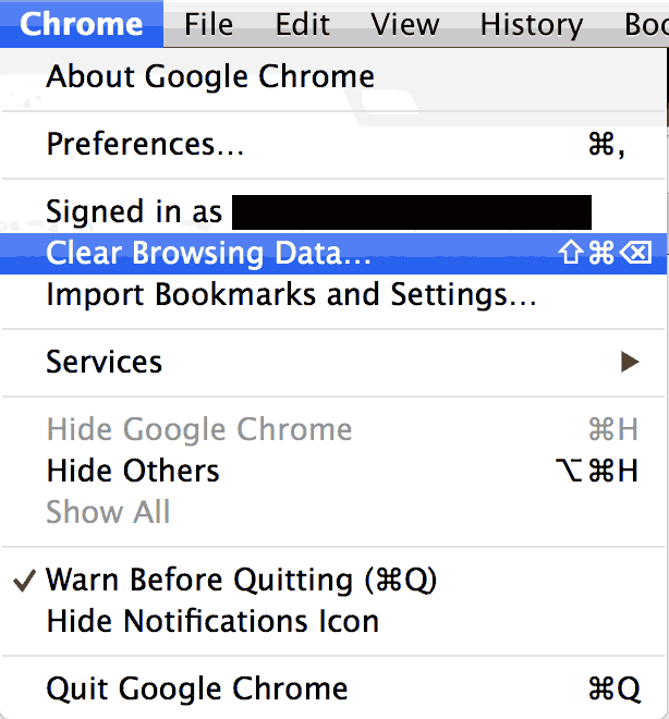 Chrome delete cookies