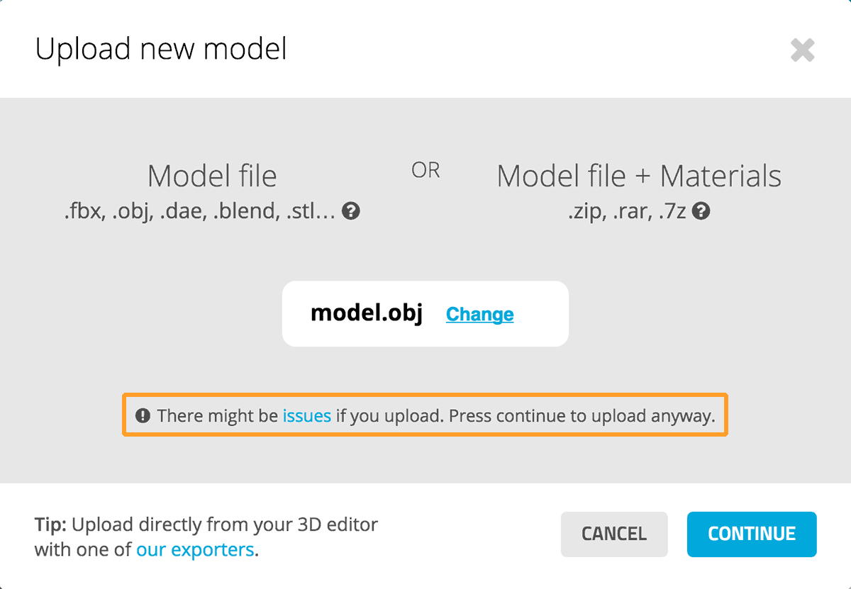 Sketchfab 3d model upload issues