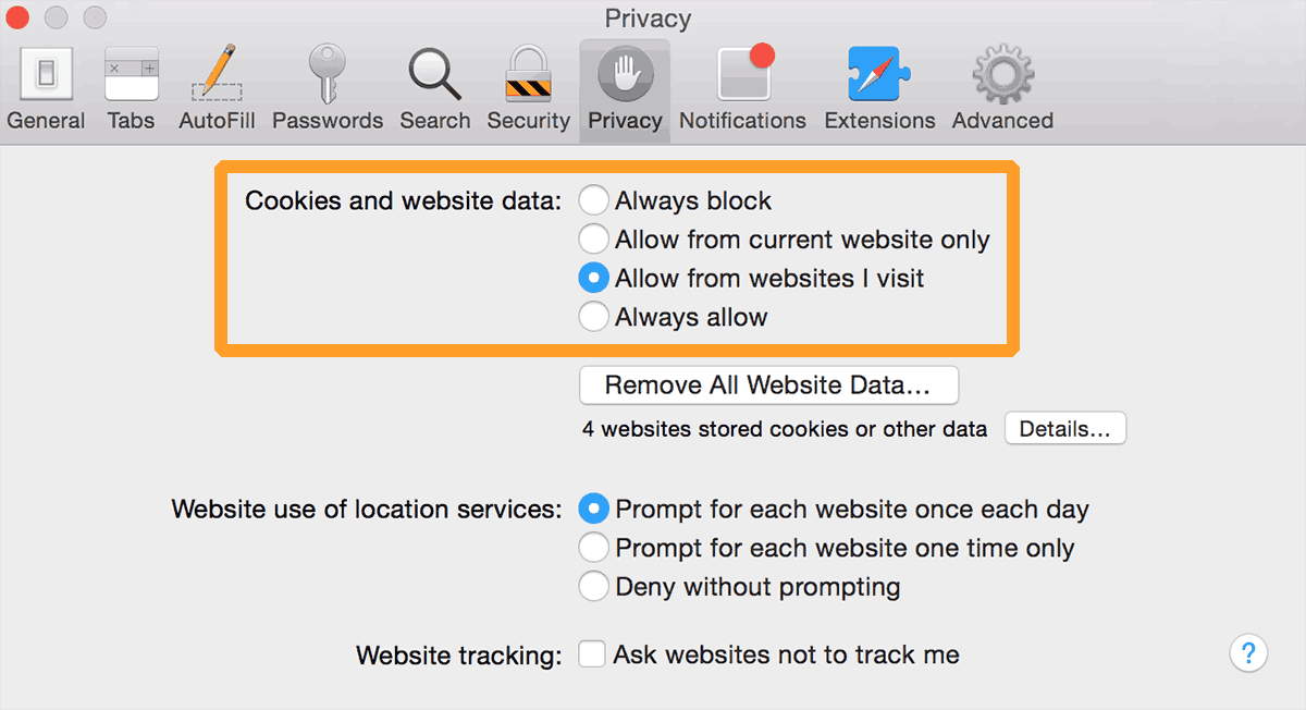 Safari cookie settings