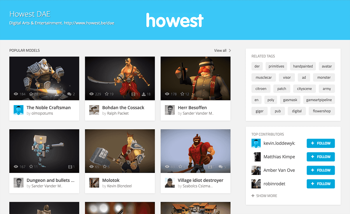 Sketchfab 3d model tag page for Howest DAE student work