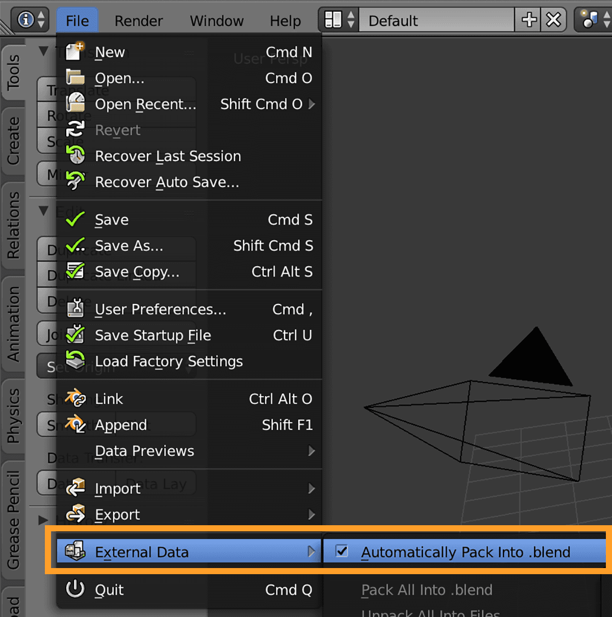Blender pack external data