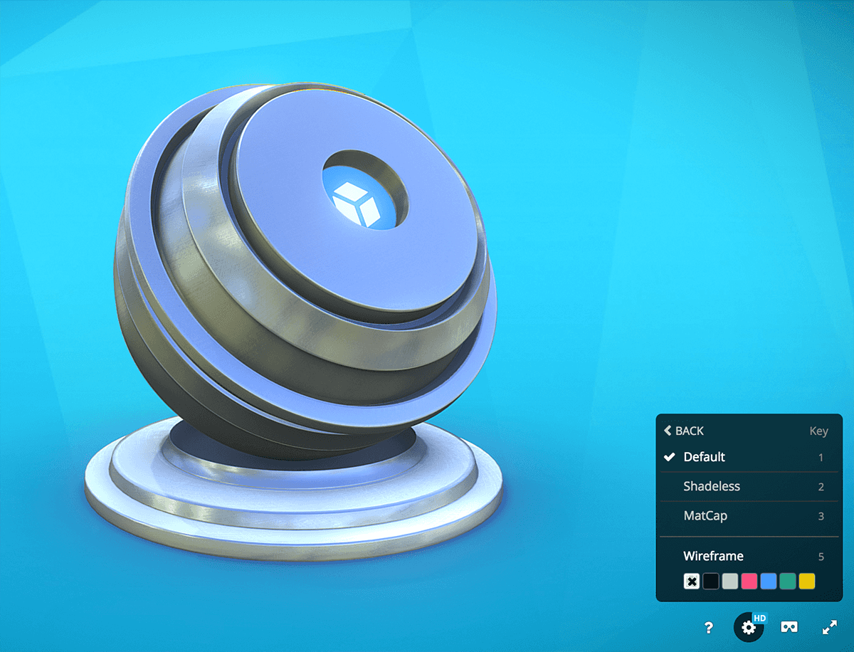 Sketchfab 3d model viewer rendering default lit