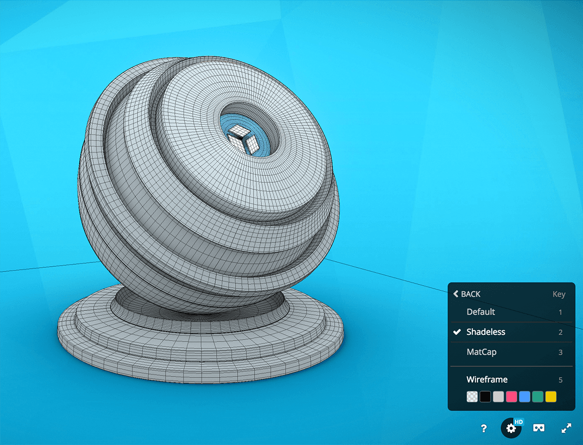 Sketchfab 3d model viewer rendering wireframe