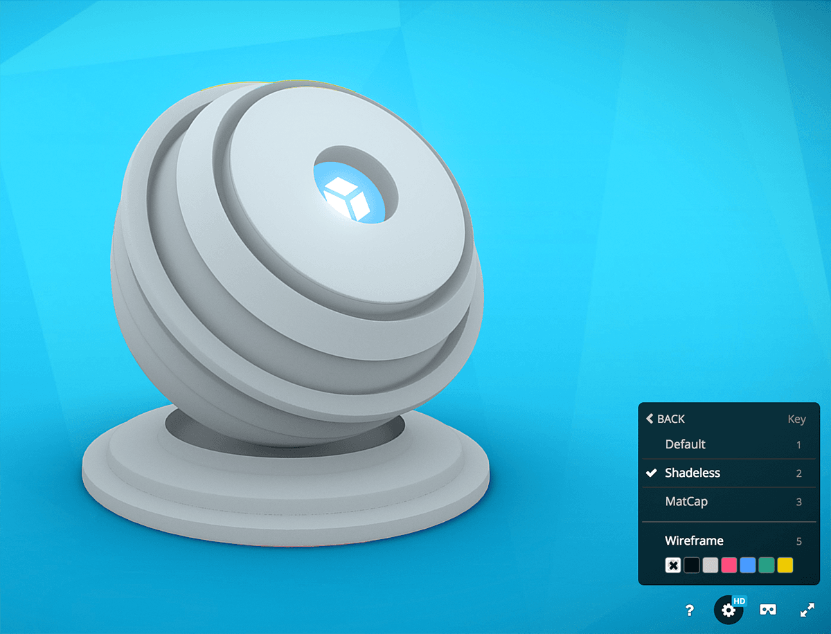 Sketchfab 3d model viewer rendering shadeless