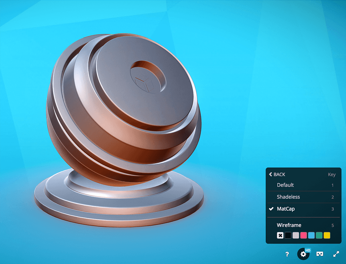 Sketchfab 3d model viewer rendering matcap