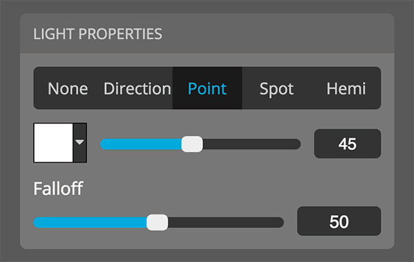 Sketchfab 3D settings editor lights properties point