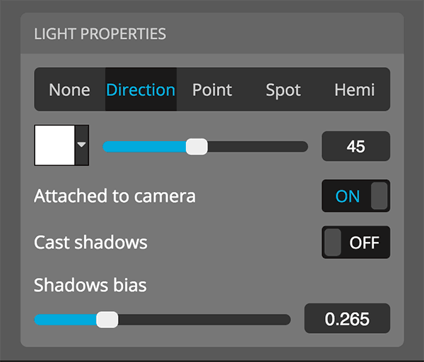 Sketchfab 3D settings editor lights properties directional