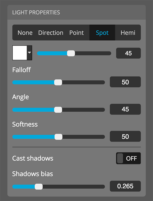Sketchfab 3D settings editor lights properties spot