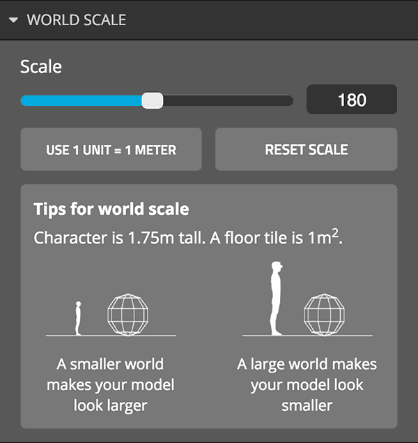 Sketchfab 3d settings vr virtual reality world scale