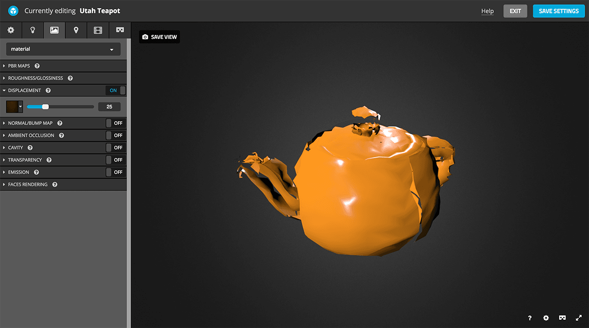 Sketchfab 3d model Physically based rendering PBR settings displacement