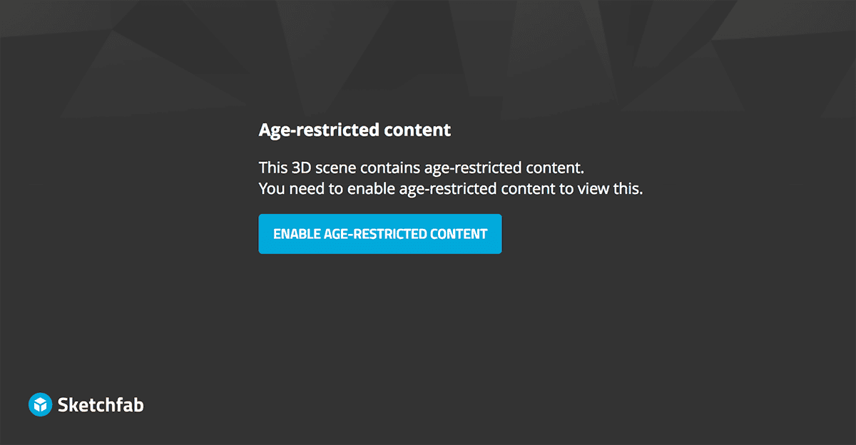 Sketchfab age restricted content - embed cover