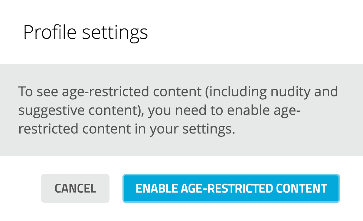 Sketchfab age restricted content - settings popup