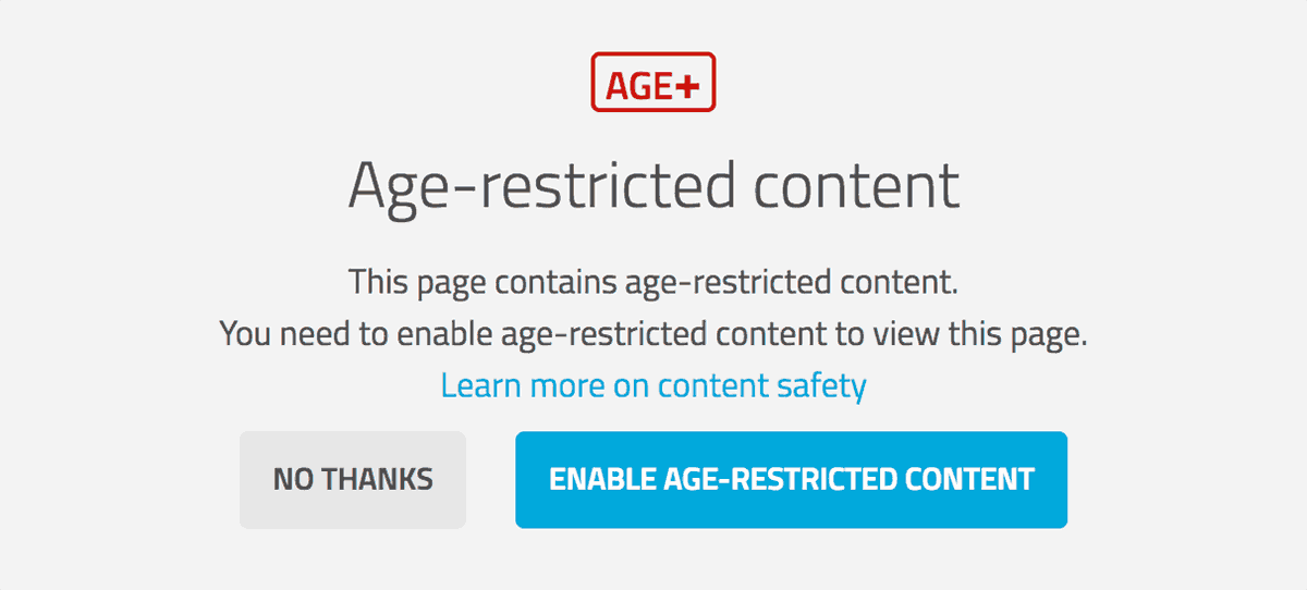Sketchfab age restricted content - warning